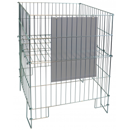 Folding Basket in wire, with A3 poster pocket, Zinc