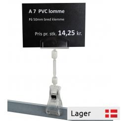 Informationsholder 50 mm, på mellem stykke, med A7  PVC lomme
