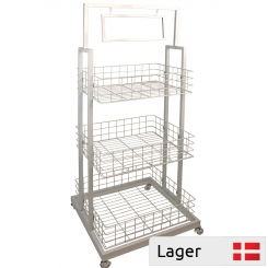 Sales stand with 3 baskets white