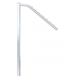 Sloping arm with 7 pins, H95cm, with 6 holes for 10cm, for garment stand