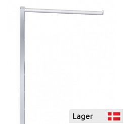 Straight arm, H 95 cm, with 6 holes 10 cm, crome, for garment stand