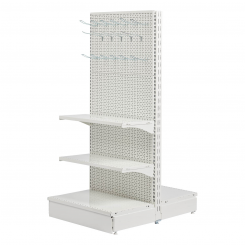 T form gondola set, perforated back panel, WHITE