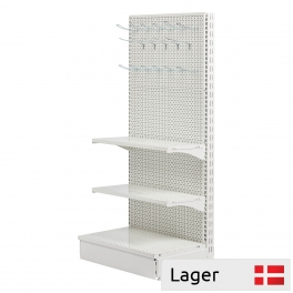 L form gondola set, perforated back panel, WHITE