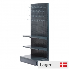 L form gondola set, perforated back panel, GREY