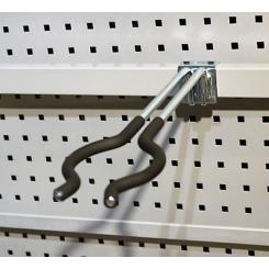 Dobbeltkrog / redskabsholder Ø10 x 384 mm, gummi belagt