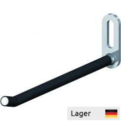 Single hook Ø7 black rubber coated, with upturned end, for mounting with a screw