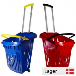 2 Wheel Plastic Shopping Basket 38 litres - with/without Logo