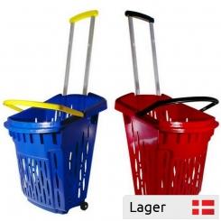 Indkøbskurv i plast, på 2 hjul, med muighed for logo