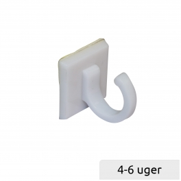 White plastic hook Ø15 with foamed tape
