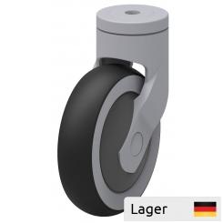 Støjreducerende hjul med kunststof gaffel, til kundevogn