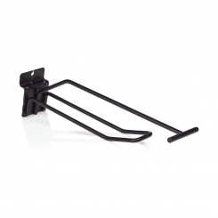 Double hook, with price arm, for slatted panels - black or white