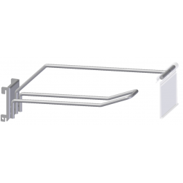 Doubel hook for panel with square holes, with pricearm, distance 34mm c/c, with out ticket holder