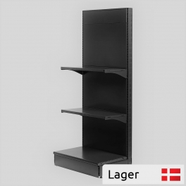 L form gondola set, back panel without holes, BLACK