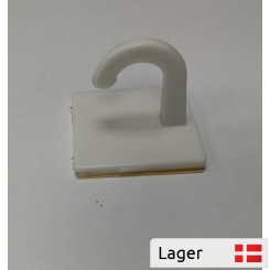 White plastic hook Ø10 with foam tape