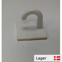 White plastic hook Ø10 with foam tape