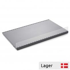 Acrilic barrier for sheet metal shelf