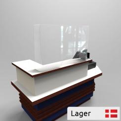 Corona plexiglass shield for checkout counters H650 mm.