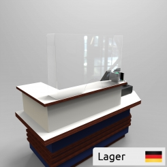 Corona plexiglass shield for checkout counters H750 mm.