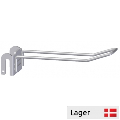 Double hook with plate bracket, for 6mm bar