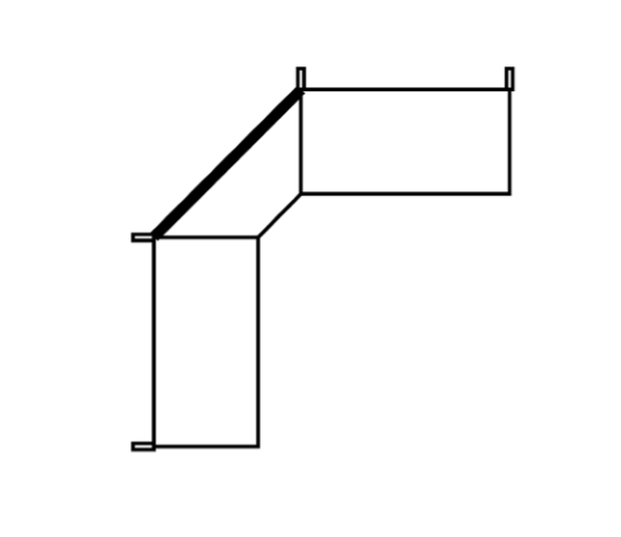 Perforated back panel, internal corner