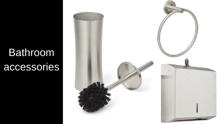 A wide range of bathroom accessories, such as soap holders, and towel ring.