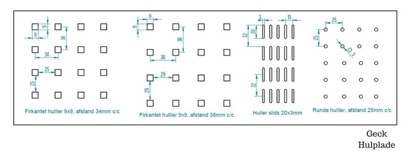 Forskellige typer hulplade og afstand mellem huller