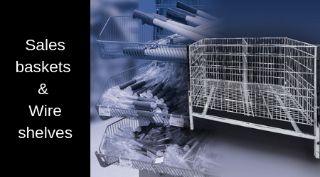 Sales baskets, stacking baskets and wire shelves.