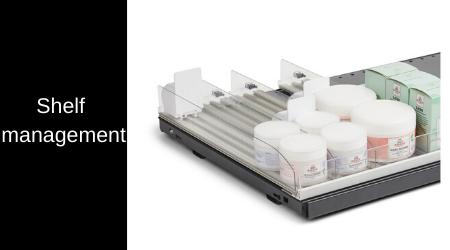 Shelf management / pusher systems
