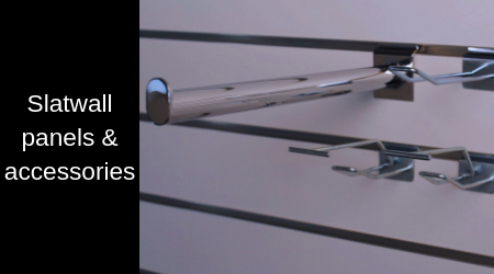 Slatwall comes in many names, such as slat wall, slatwall board, slat board panel or slatted wall panels. We also have a selection of accessories for the panels - such as hooks, shelves, backbars, and various garment arms and rail.