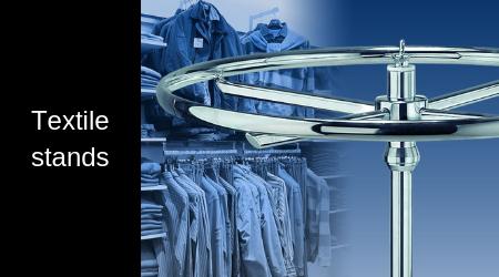 Garment stands, textile racks, and gondola